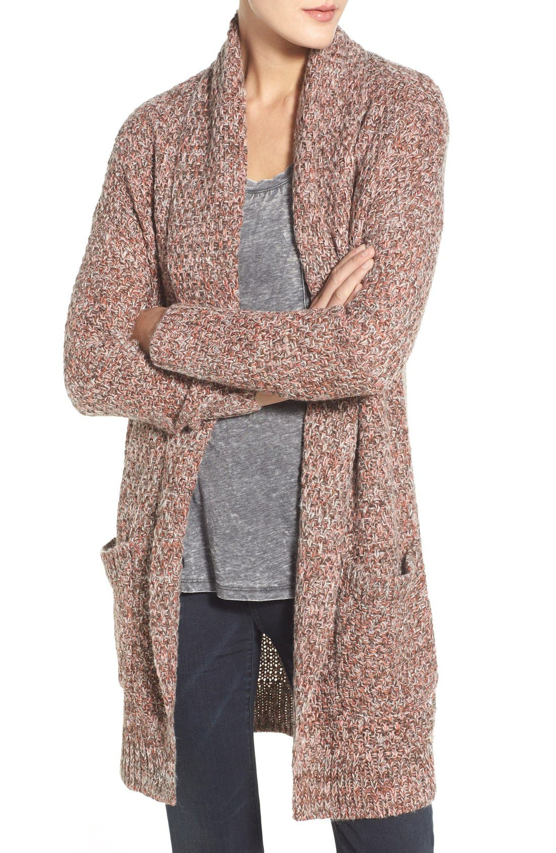 ,                             Marled Long Open Front Cardigan,                             Alternate thumbnail 13, color,                             200
