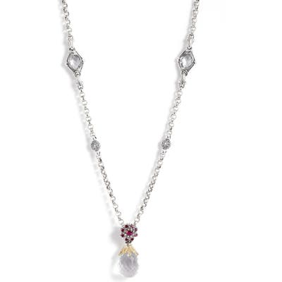 Konstantino Pythia Crystal Chain Pendant Necklace