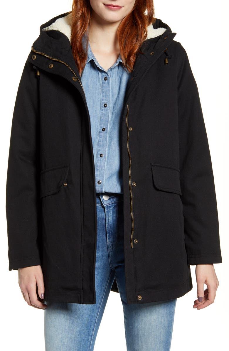 PENDLETON Florence Hooded Coat, Main, color, BLACK