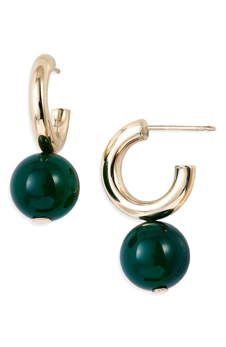 LOREN STEWART Planeta Sphere Drop Huggie Hoop Earrings, Main, color, YELLOW GOLD/ GREEN AGATE