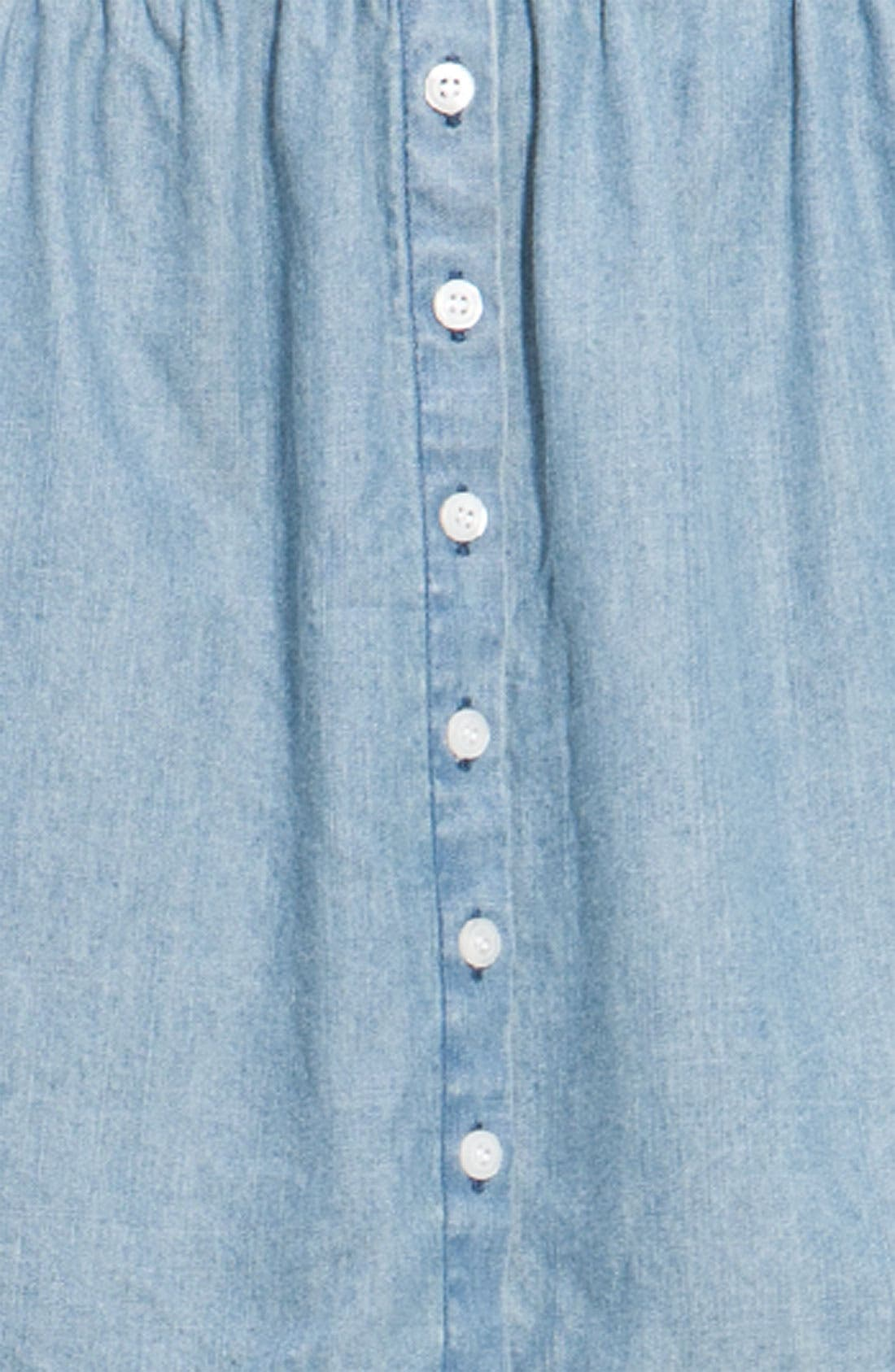 ,                             <sup>®</sup> Button Front Chambray Skirt,                             Alternate thumbnail 3, color,                             461