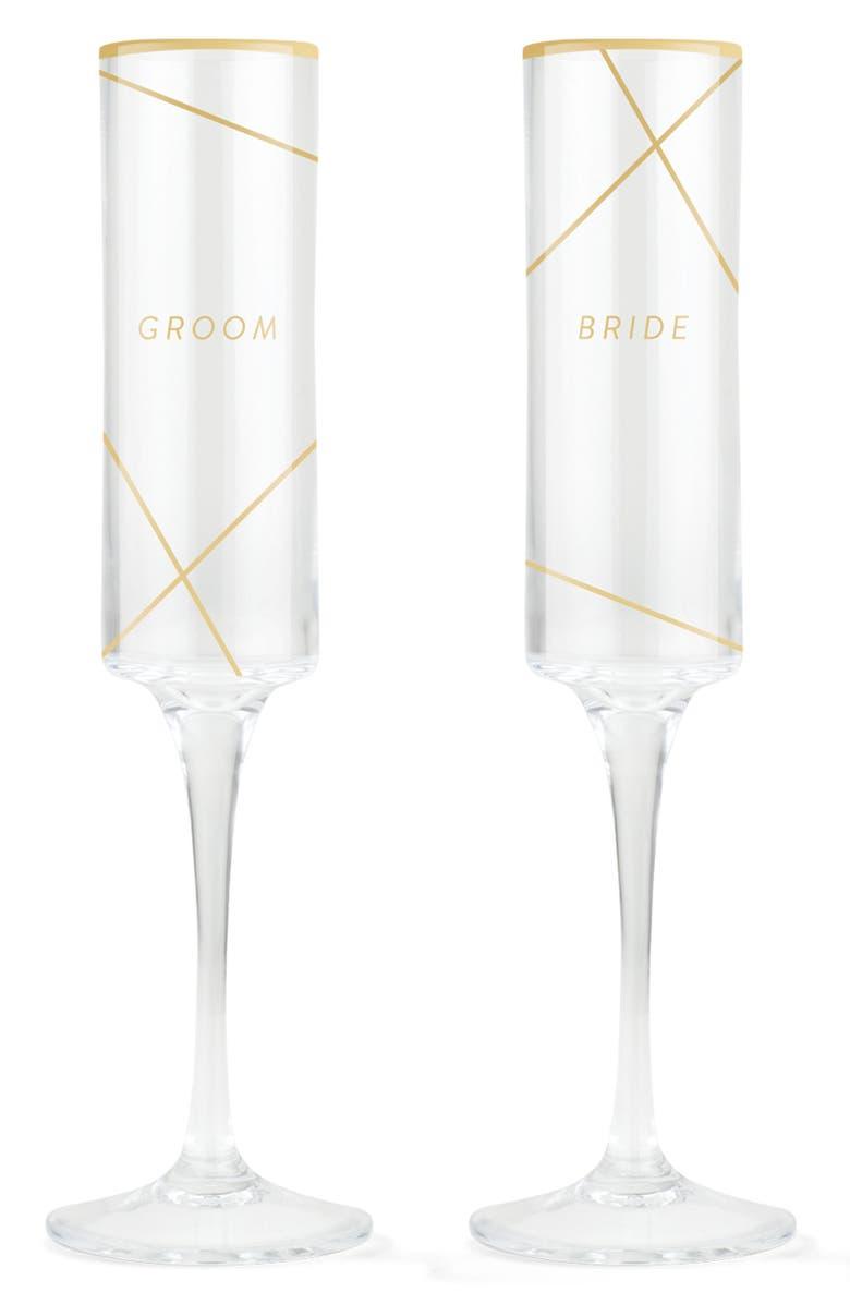 FRINGE STUDIO Bride & Groom Set of 2 Champagne Flutes, Main, color, 100
