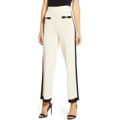 English Factory Contrast Stripe Sweater Pants, Ivory
