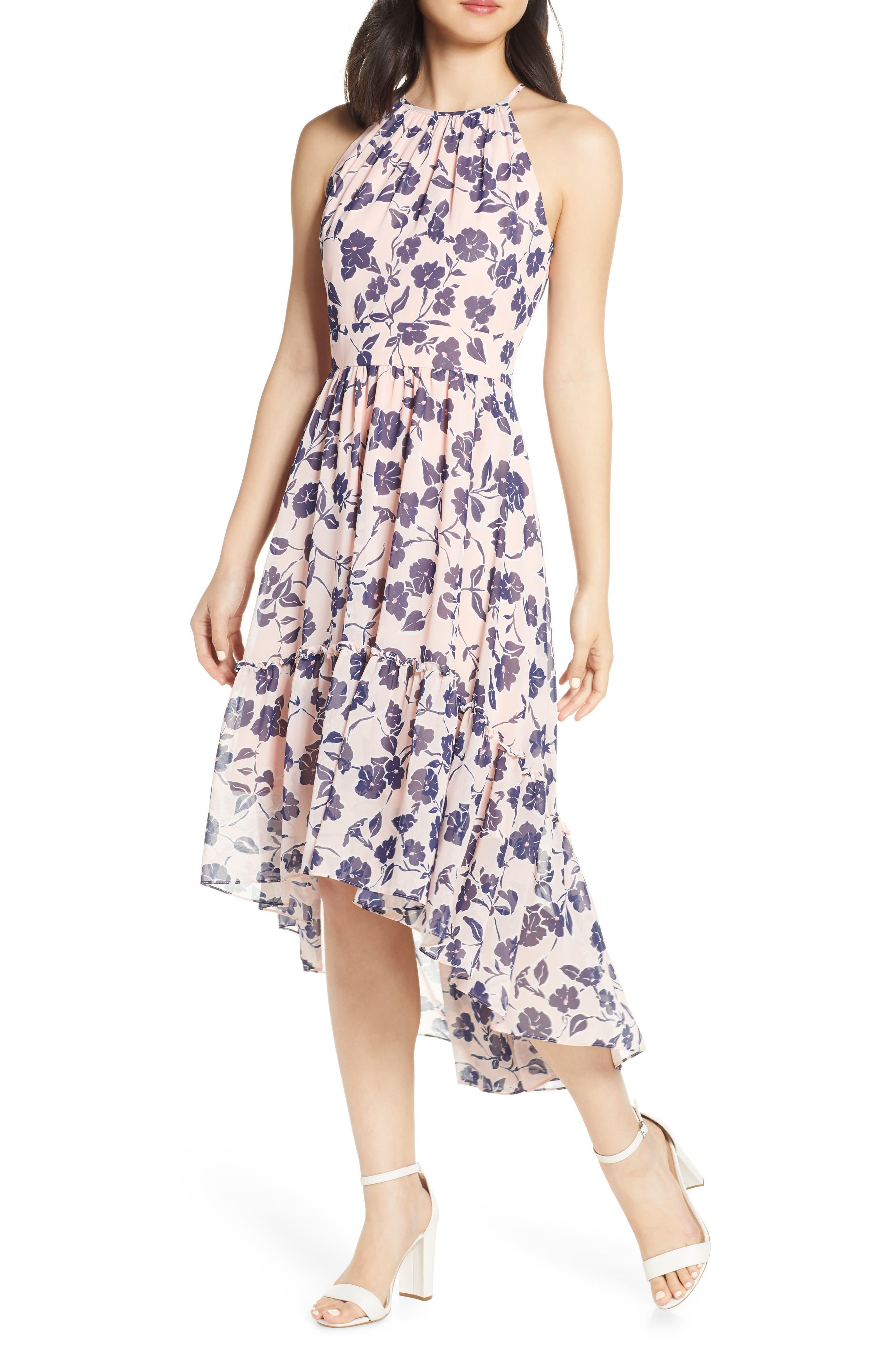 Petite Eliza J Floral Ruffle High/low Halter Dress, Pink