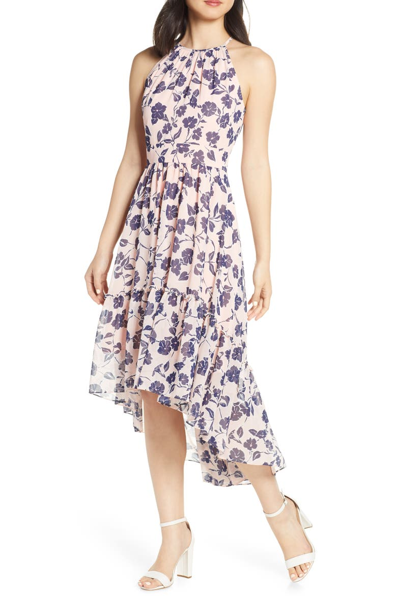 petite Floral Ruffle High/Low Halter Dress,