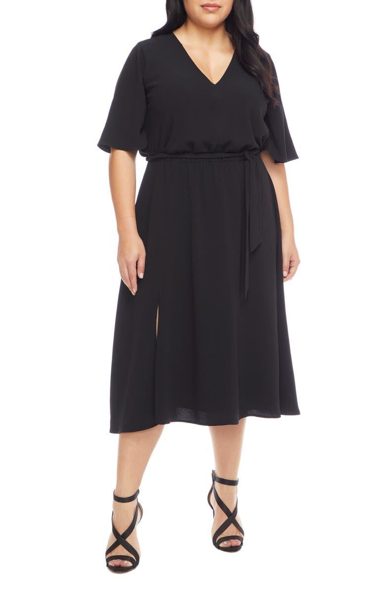 DRESS THE POPULATION Lydia Midi Dress, Main, color, BLACK