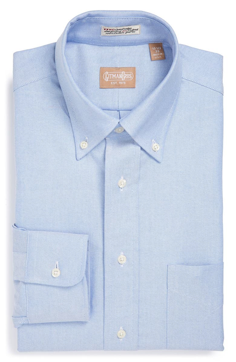 GITMAN 'Cambridge Oxford' Regular Fit Dress Shirt, Main, color, BLUE