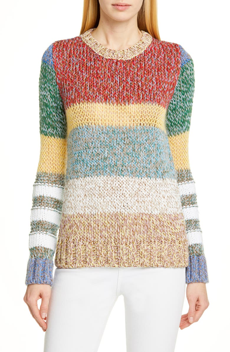 N°21 Nº21 Colorblock Sweater, Main, color, 001