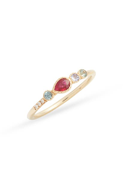 Jennie Kwon Designs Ruby Teardrop Diamond Ring In Yellow Gold/ Ruby