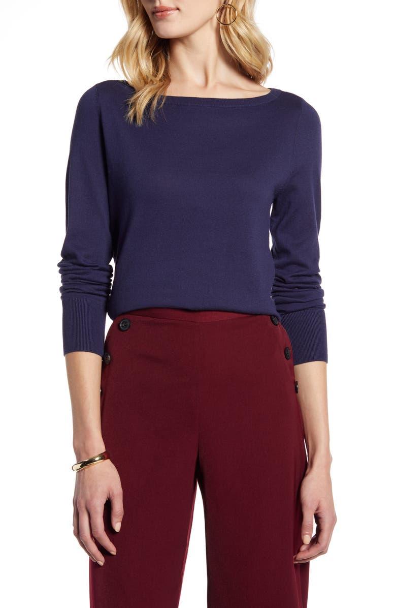HALOGEN<SUP>®</SUP> Bateau Neck Sweater, Main, color, NAVY PEACOAT
