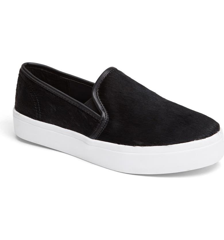STEVE MADDEN 'Finale - P' Calf Hair Sneaker, Main, color, 001