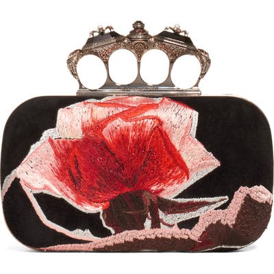 Alexander Mcqueen Embroidered Roses Knuckle Box Clutch - Black