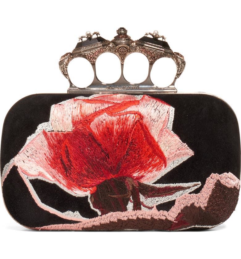 ALEXANDER MCQUEEN Embroidered Roses Knuckle Box Clutch, Main, color, BLACK MULTI