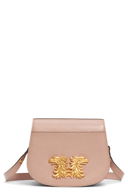 Valentino Garavani Maison Gryphon Leather Saddle Bag In Rose Cannelle