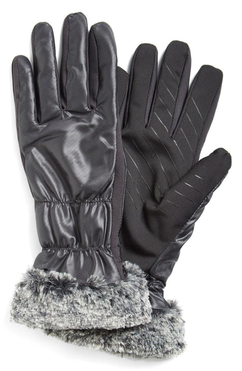U|R Tech FauxFur Cuff TechGloves, Main, color, 001