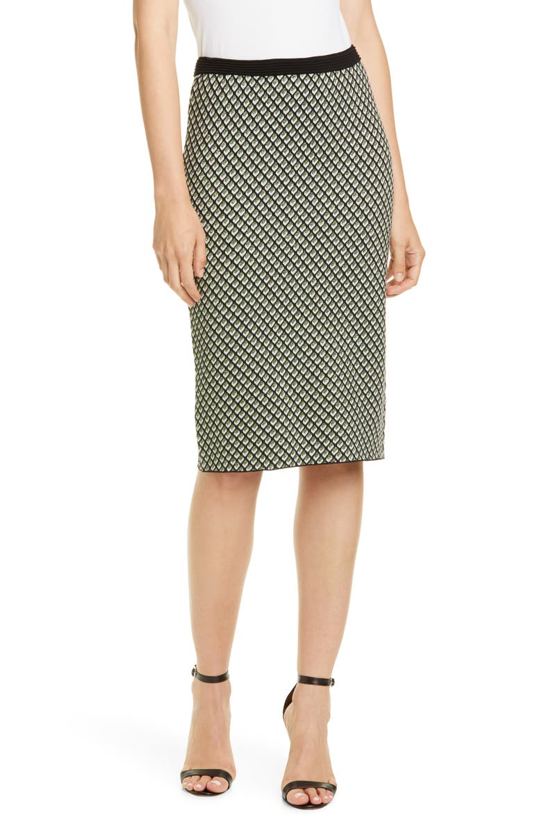 DVF Mapel Geo Print Wool Blend Pencil Skirt, Main, color, BLACK MULTI