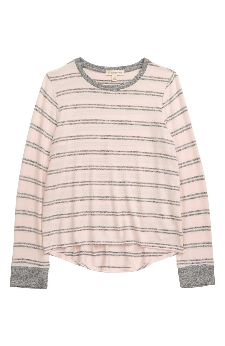 TUCKER + TATE Cozy Hatchi Stripe Shirt, Main, color, PINK ENGLISH- GREY STRIPE