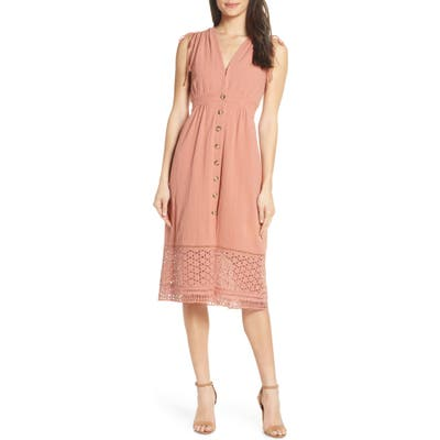 Heartloom Button Down A-Line Dress With Eyelet Lace Hem, Pink