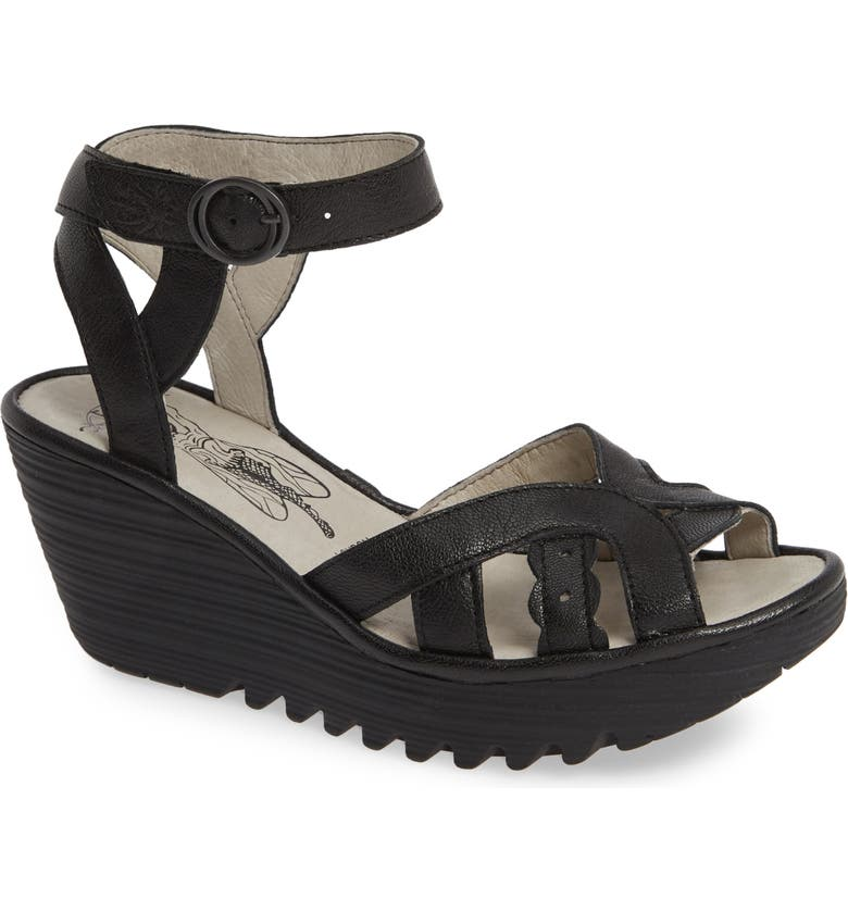 FLY LONDON Yrat Wedge Sandal, Main, color, BLACK LEATHER