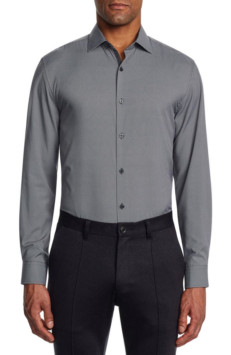 W.R.K Trim Fit Print Performance Dress Shirt, Main, color, BLACK/ WHITE