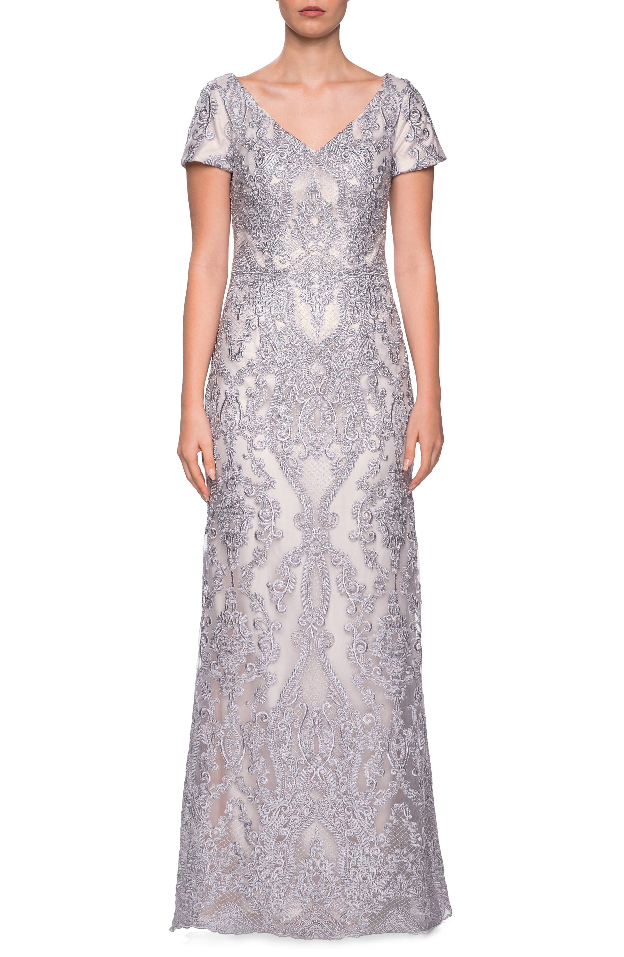 La Femme Embroidered Lace Column Dress, Grey