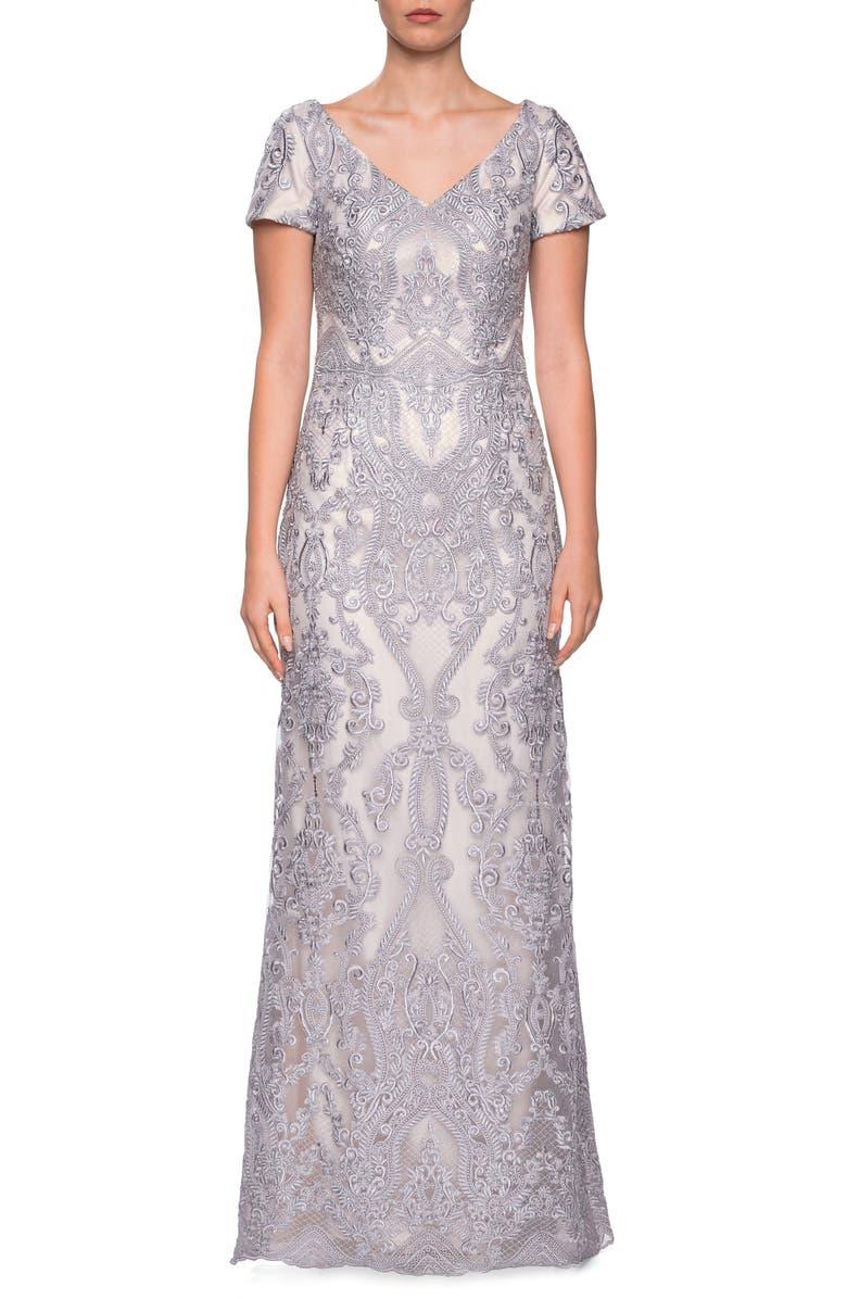 LA FEMME Embroidered Lace Column Dress, Main, color, PINK/ GREY