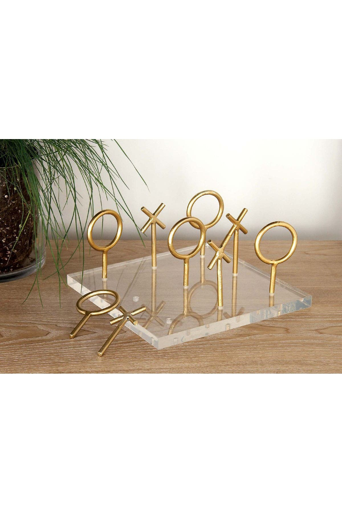 Image of CosmoLiving by Cosmopolitan Gold/Clear Modern Tic Tac Toe Table Decor