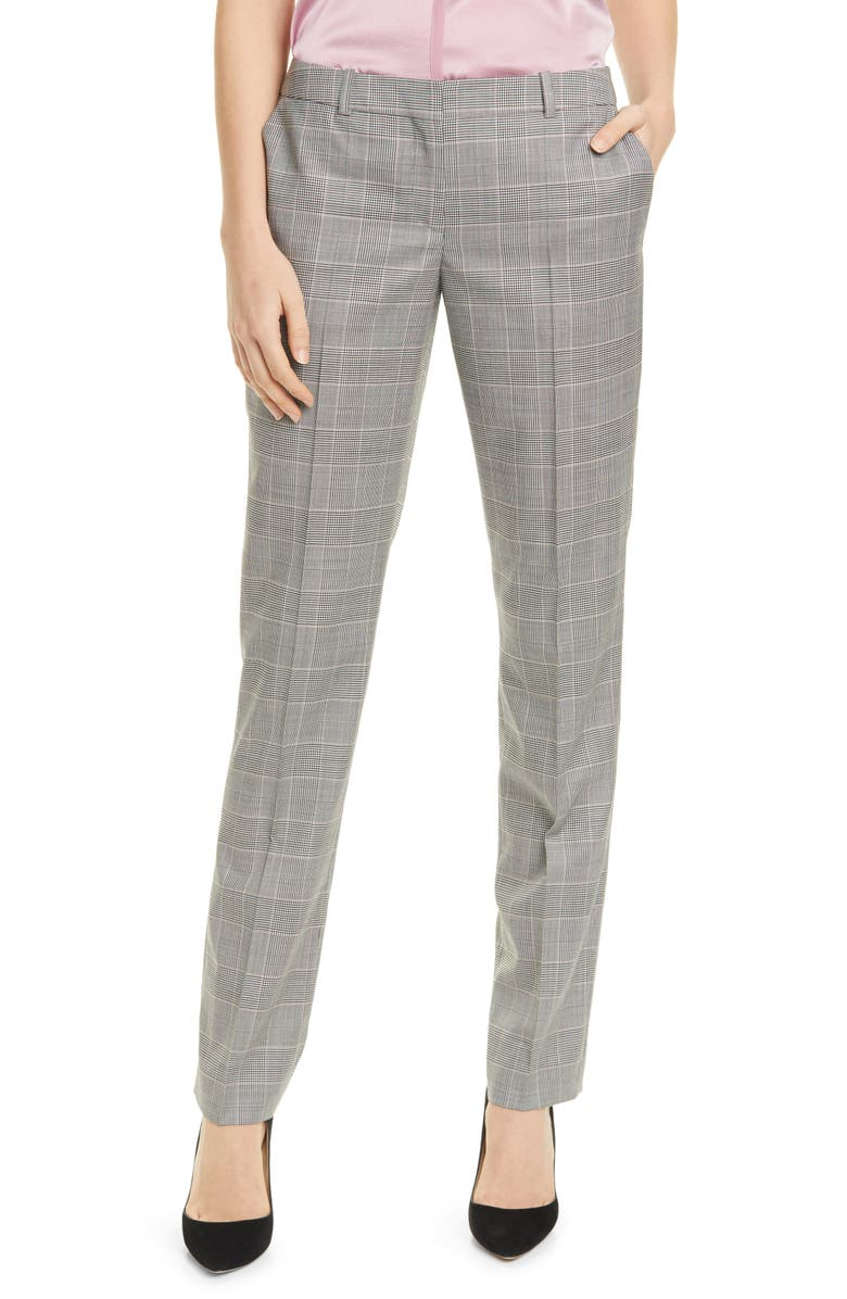 BOSS Titana Houndstooth Check Wool Trousers, Main, color, PETAL FANTASY
