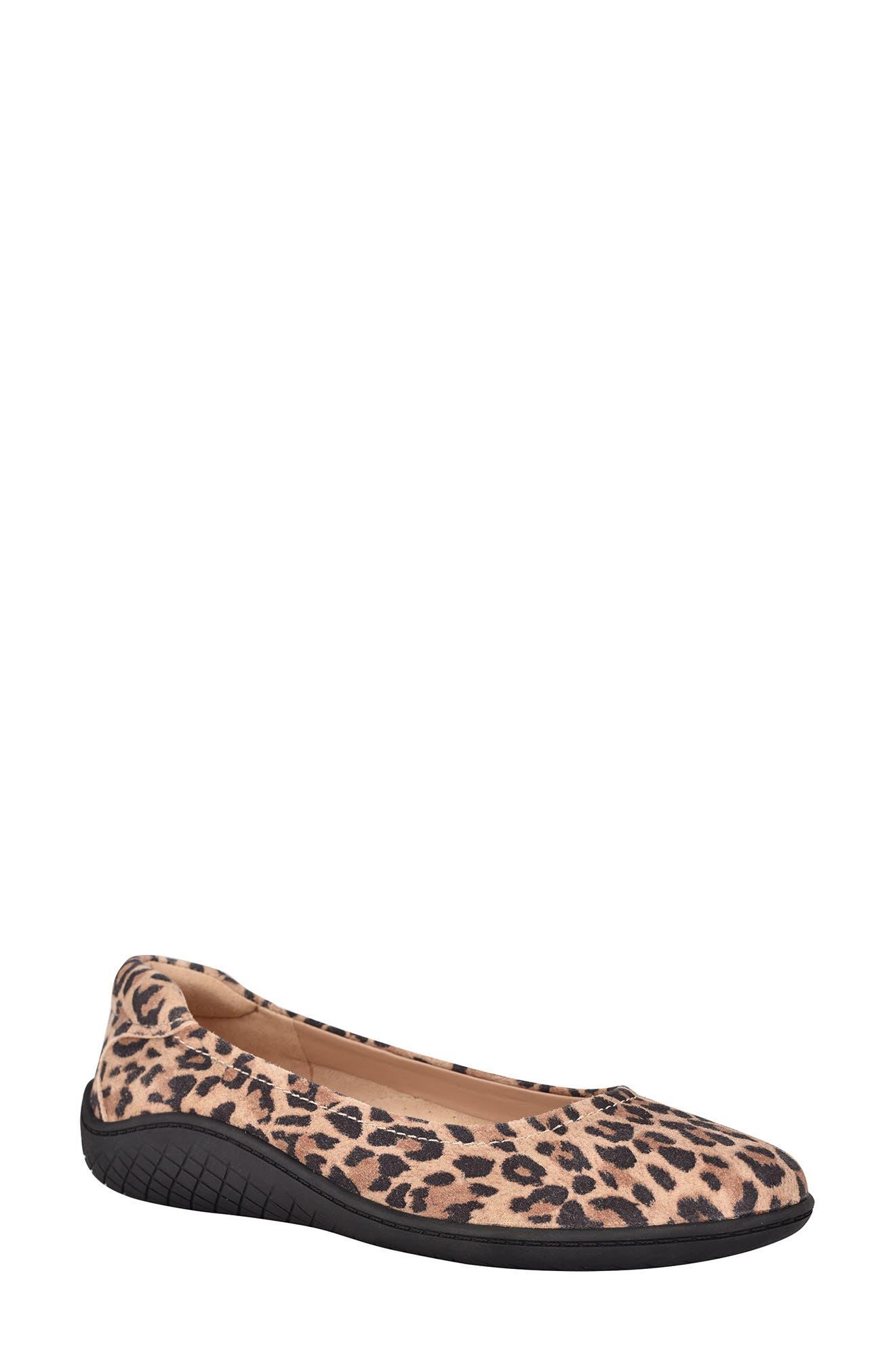 Gabbie Leopard Print Suede Flat