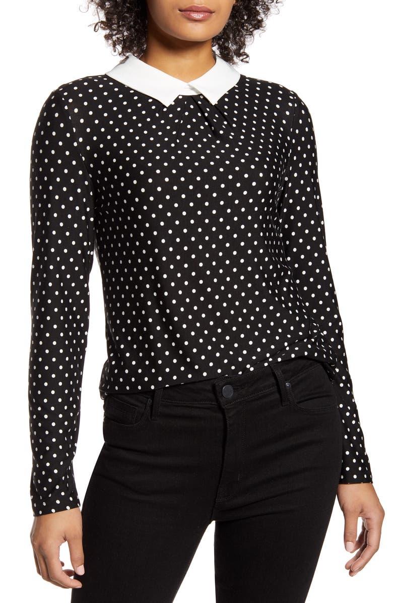 TOMMY HILFIGER Polka Dot Collared Long Sleeve Blouse, Main, color, BLACK/ IVORY