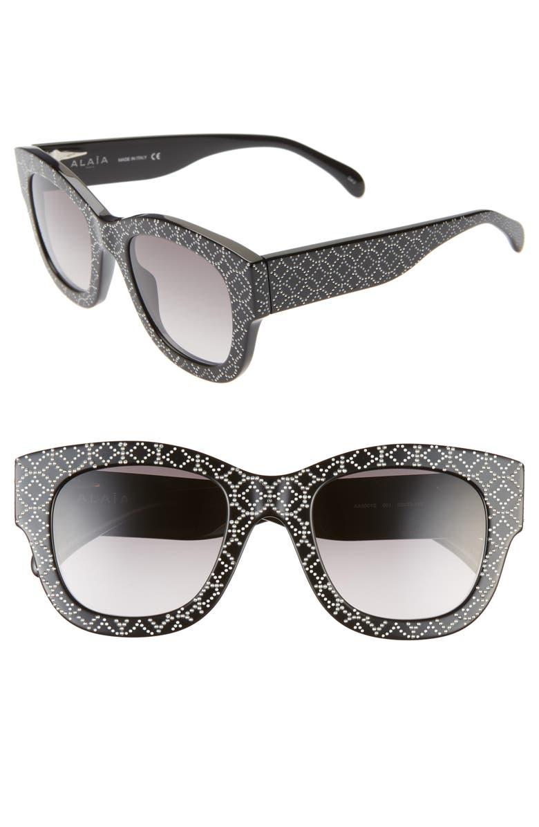 ALAÏA 50mm Studded Sunglasses, Main, color, BLACK/ GREY PRINT