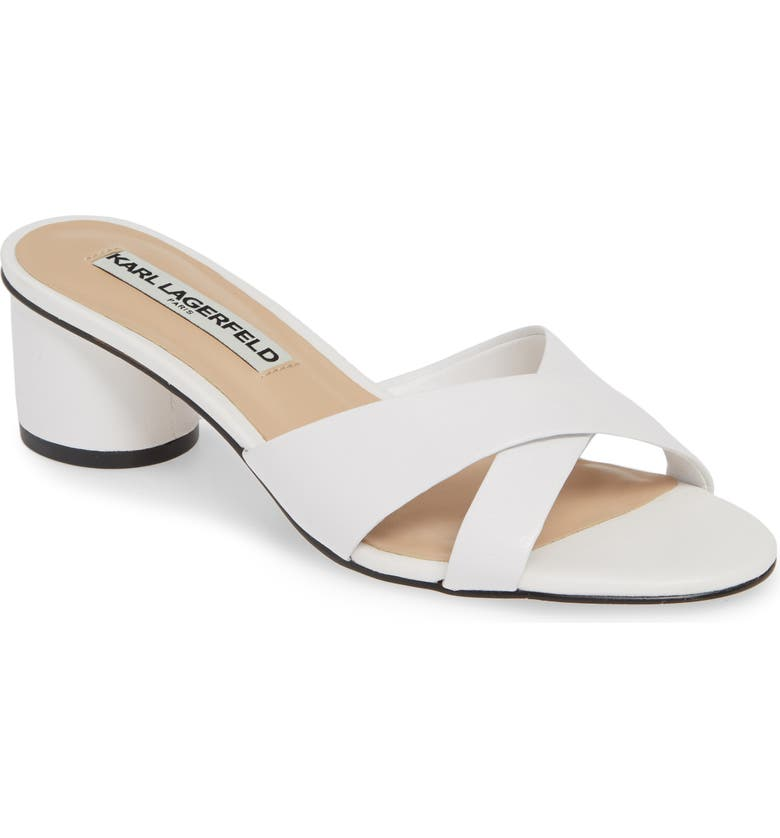 KARL LAGERFELD PARIS Fawn Slide Sandal, Main, color, BRIGHT WHITE NAPPA LEATHER
