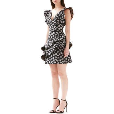 Ml Monique Lhuillier Jacquard Floral Ruffle Dress, Black
