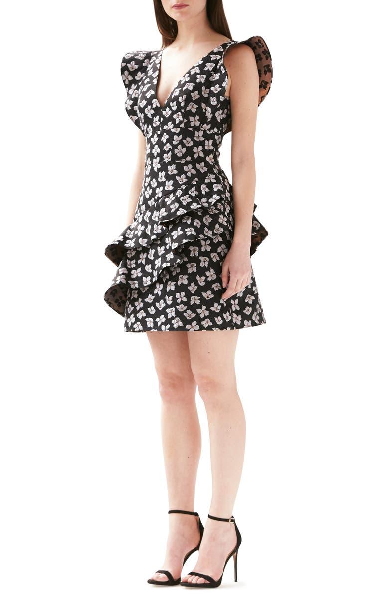 ML MONIQUE LHUILLIER Jacquard Floral Ruffle Dress, Main, color, 001