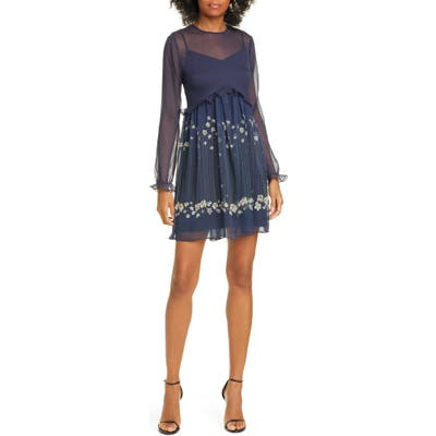 Ted Baker London Pearl Floral Long Sleeve Minidress, (fits like 8-10 US) - Blue