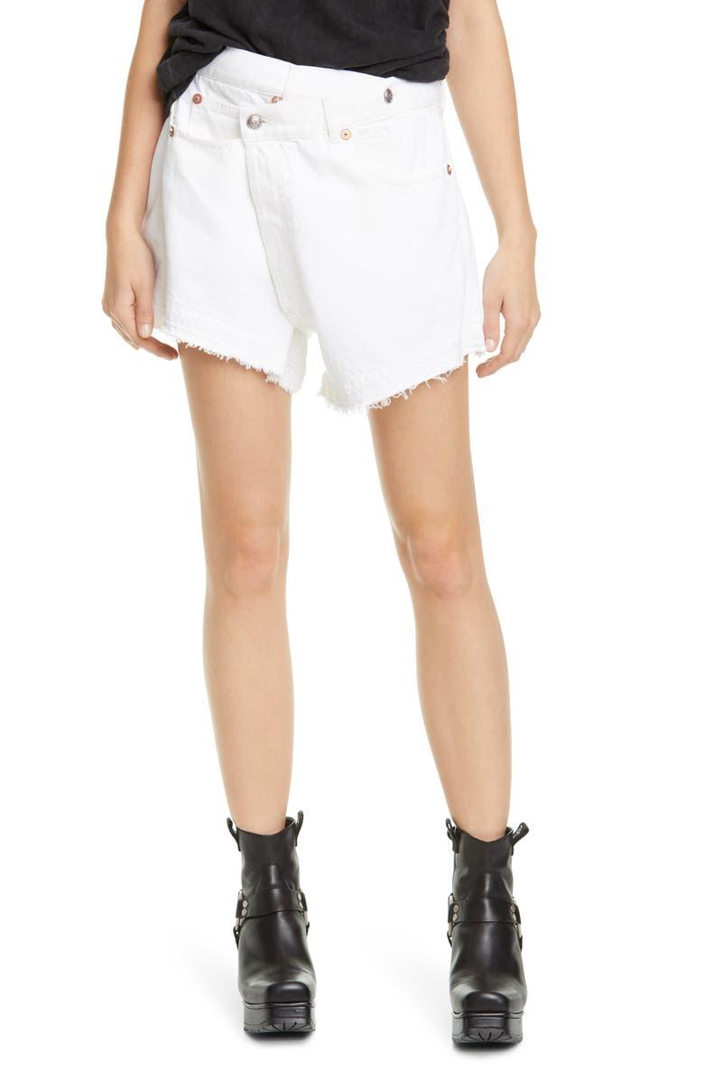 R13 Crossover Denim Shorts, Main, color, NICO WHITE