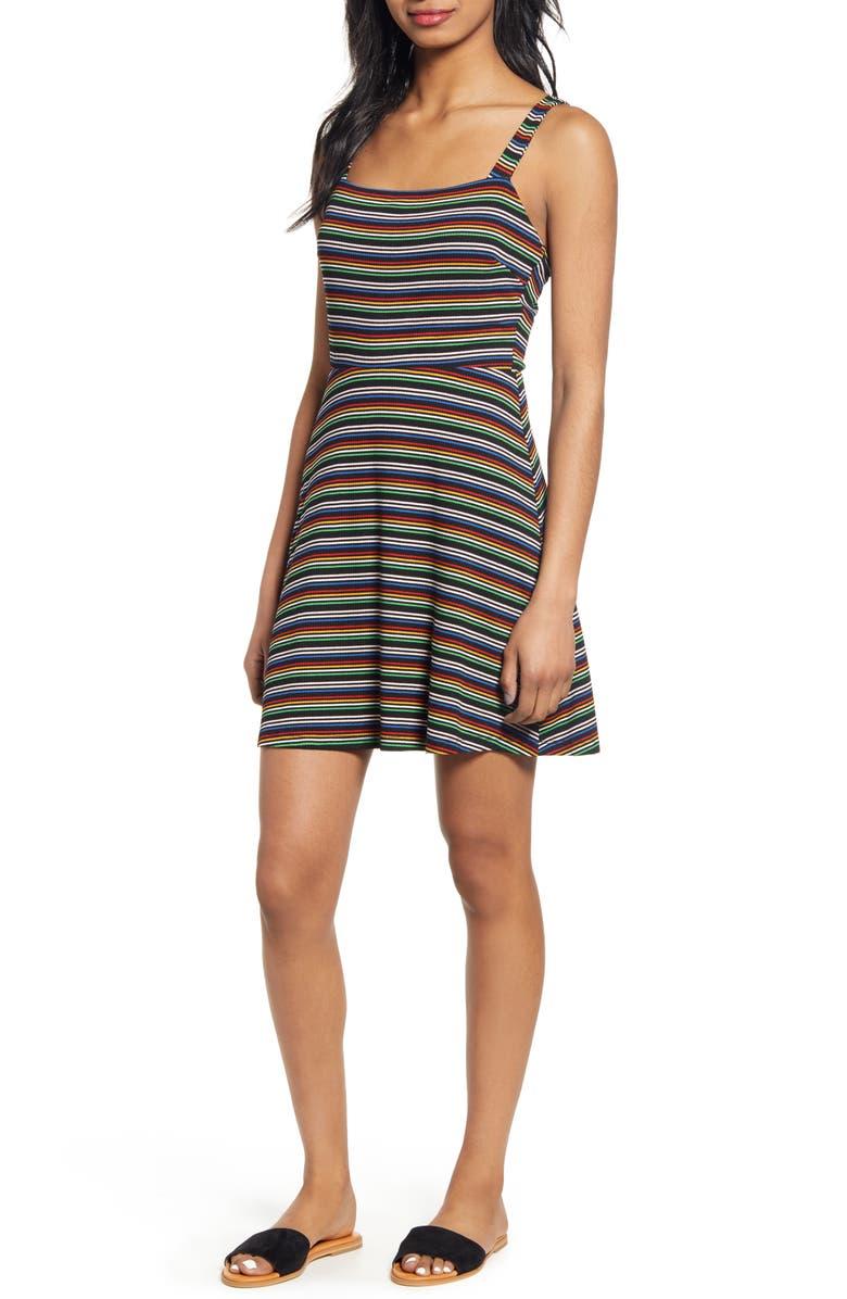 ALL IN FAVOR Stripe Rib Fit & Flare Minidress, Main, color, 001