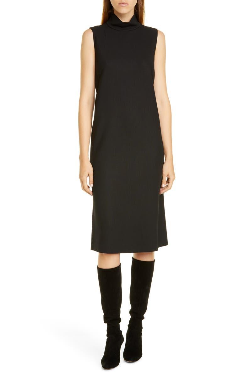 LAFAYETTE 148 NEW YORK Teresa Stretch Wool Dress, Main, color, BLACK