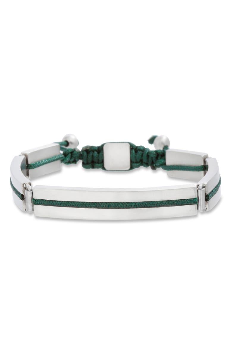 BEN SHERMAN Adjustable Steel Bracelet, Main, color, GREEN