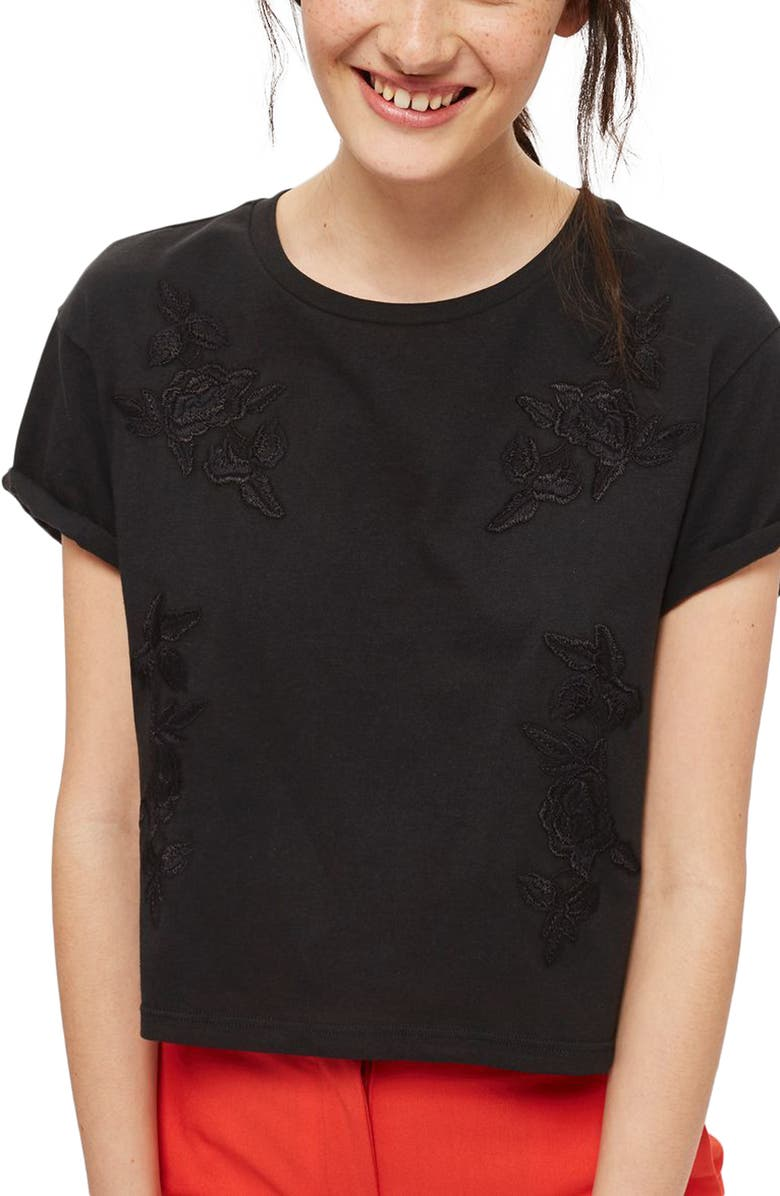 TOPSHOP Embroidered Crop Tee, Main, color, 001