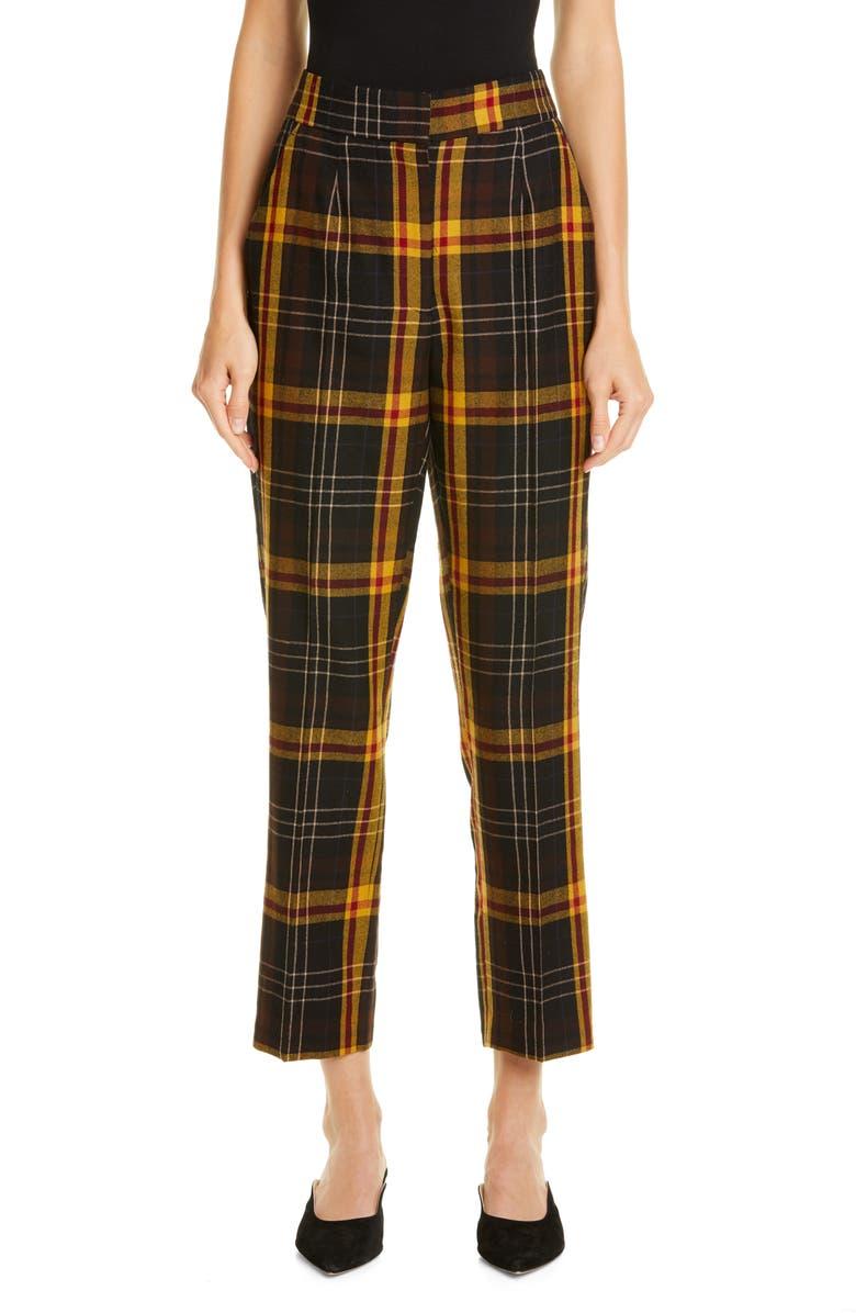 ETRO Straight Leg Tartan Wool Crop Pants, Main, color, 001