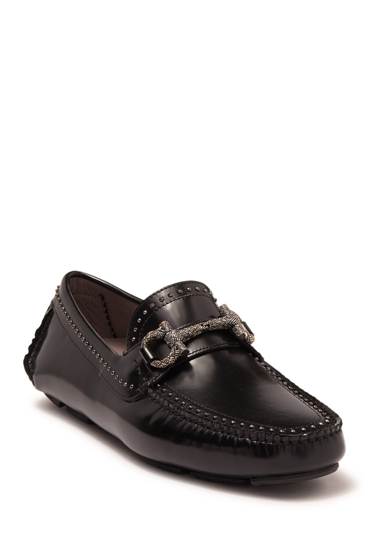 Image of Salvatore Ferragamo Horsebit Studded Leather Loafer