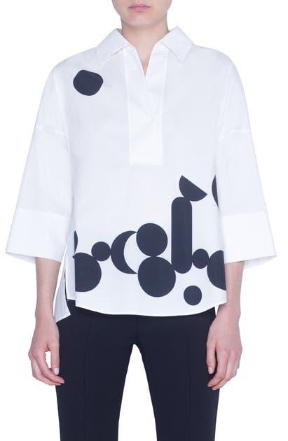 Akris Punto T-shirts LUNA DOT PRINT COTTON SHIRT