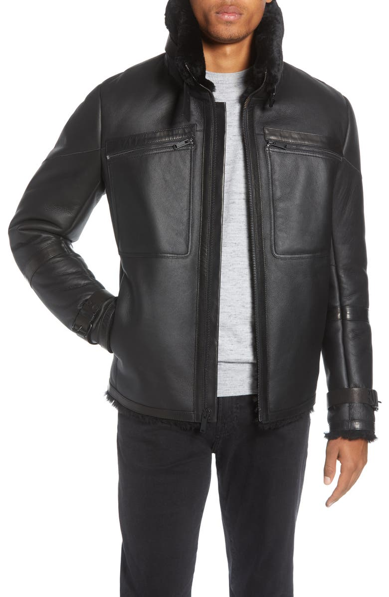 KARL LAGERFELD PARIS Lambskin Leather Aviator Jacket with Genuine Shearling Trim, Main, color, 001