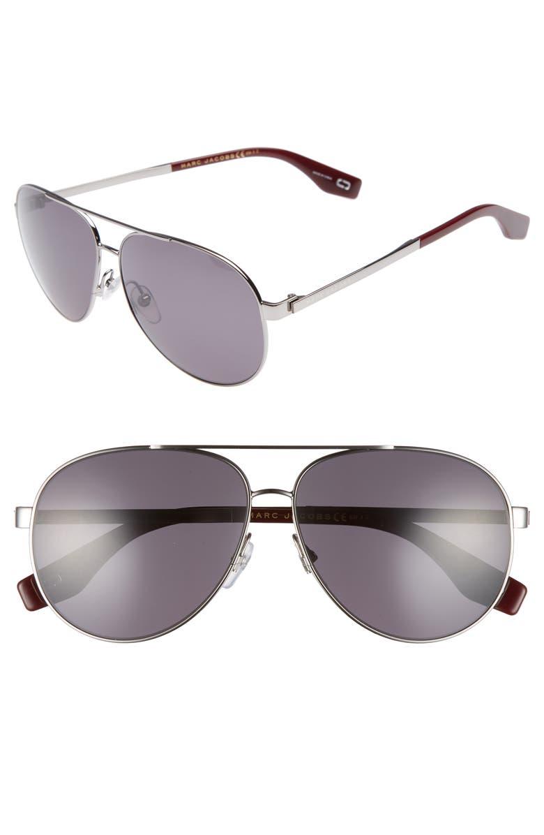 MARC JACOBS 61mm Polarized Metal Aviator Sunglasses, Main, color, 043