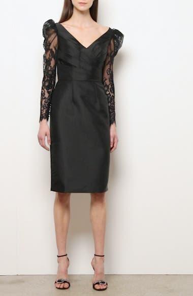 Lace Long Sleeve Mikado Cocktail Dress, video thumbnail