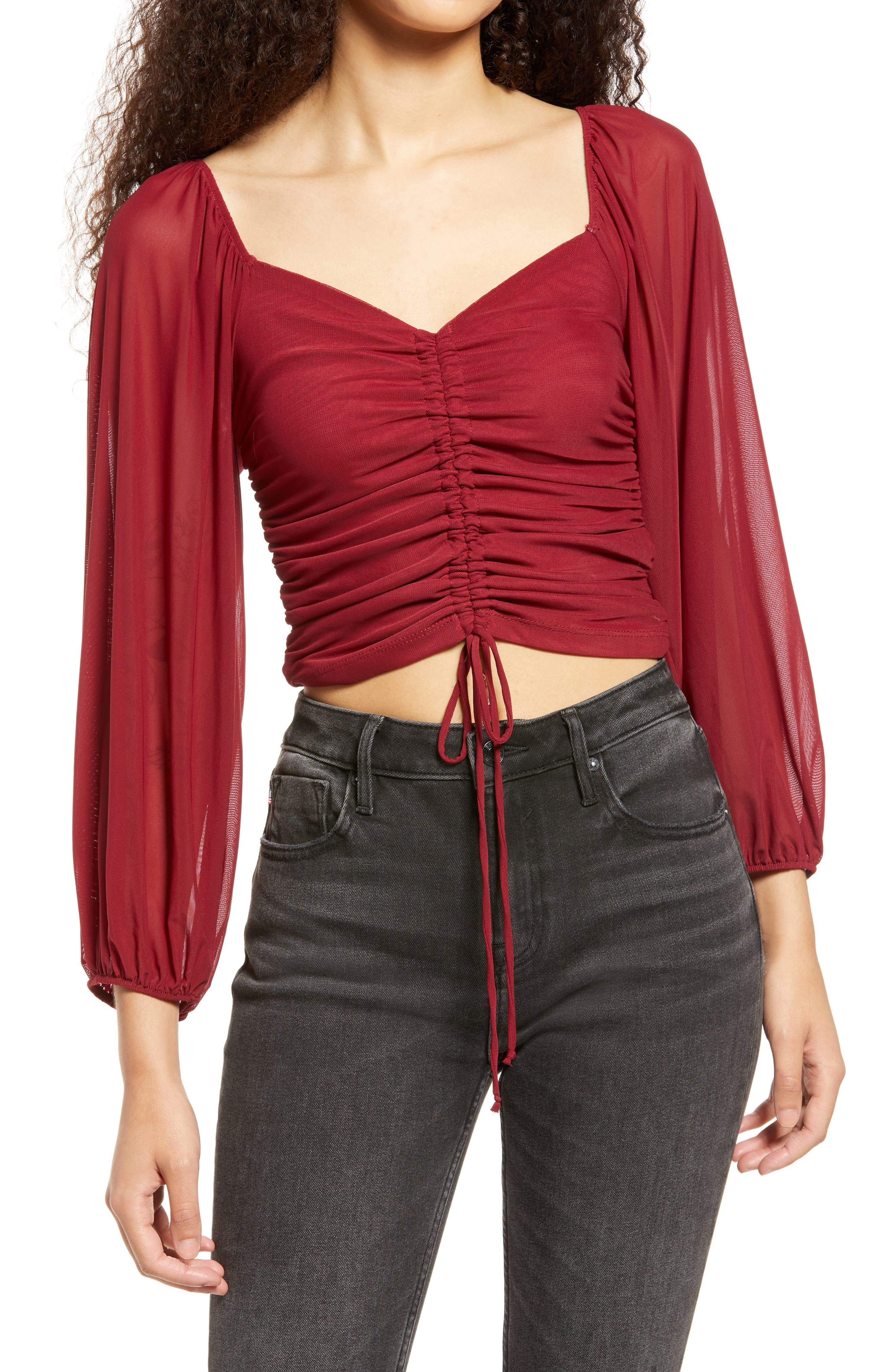 Completely Charmed Ruched Mesh Top