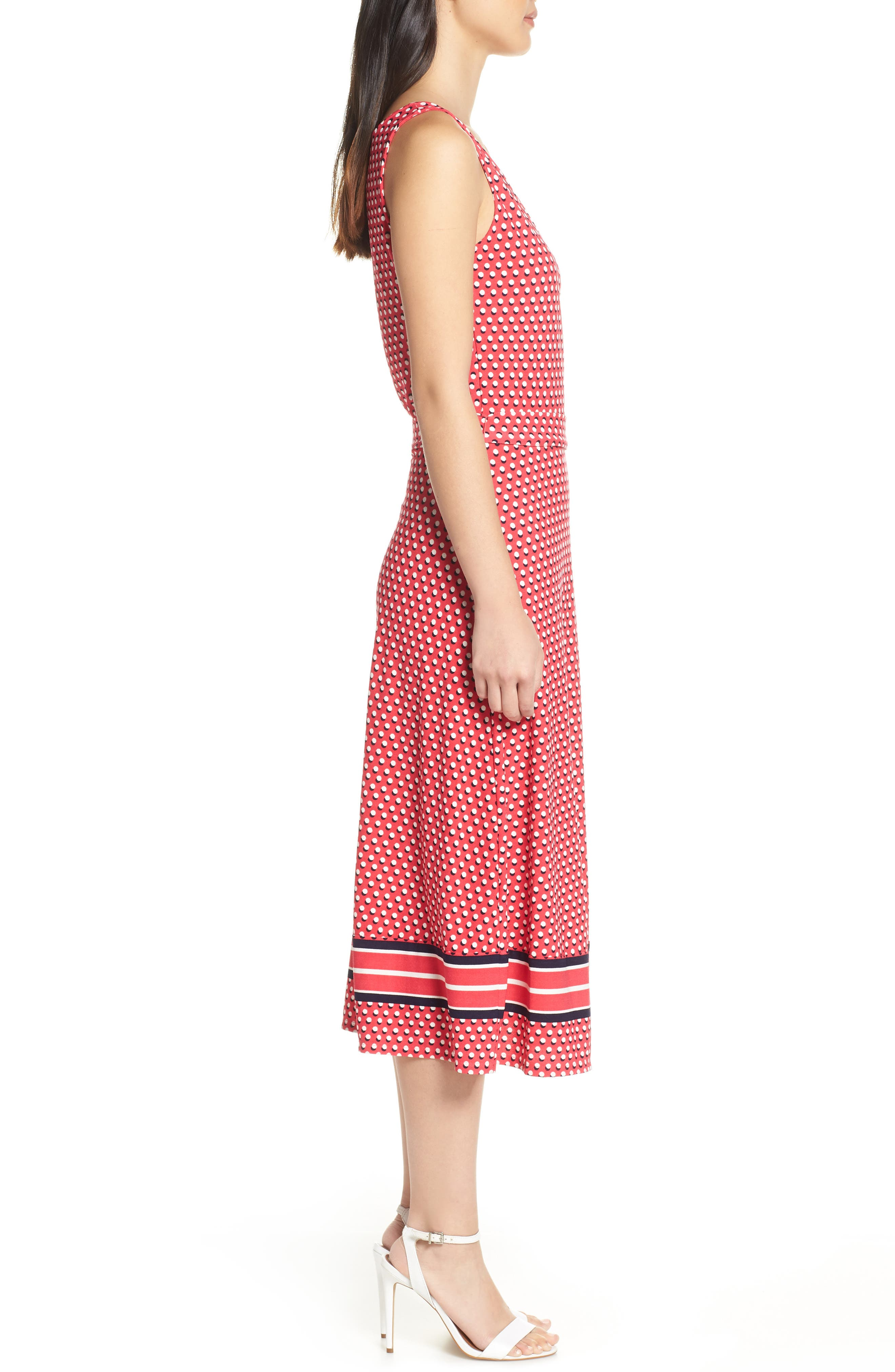 ,                             Justine Border Print Wrap Dress,                             Alternate thumbnail 4, color,                             641
