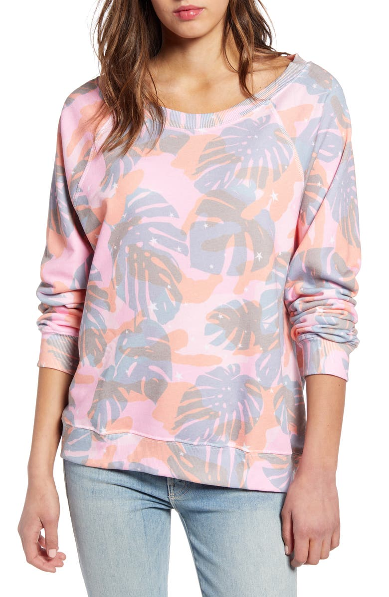 WILDFOX Tropical Camo Sommers Sweatshirt, Main, color, MULTI COLORED