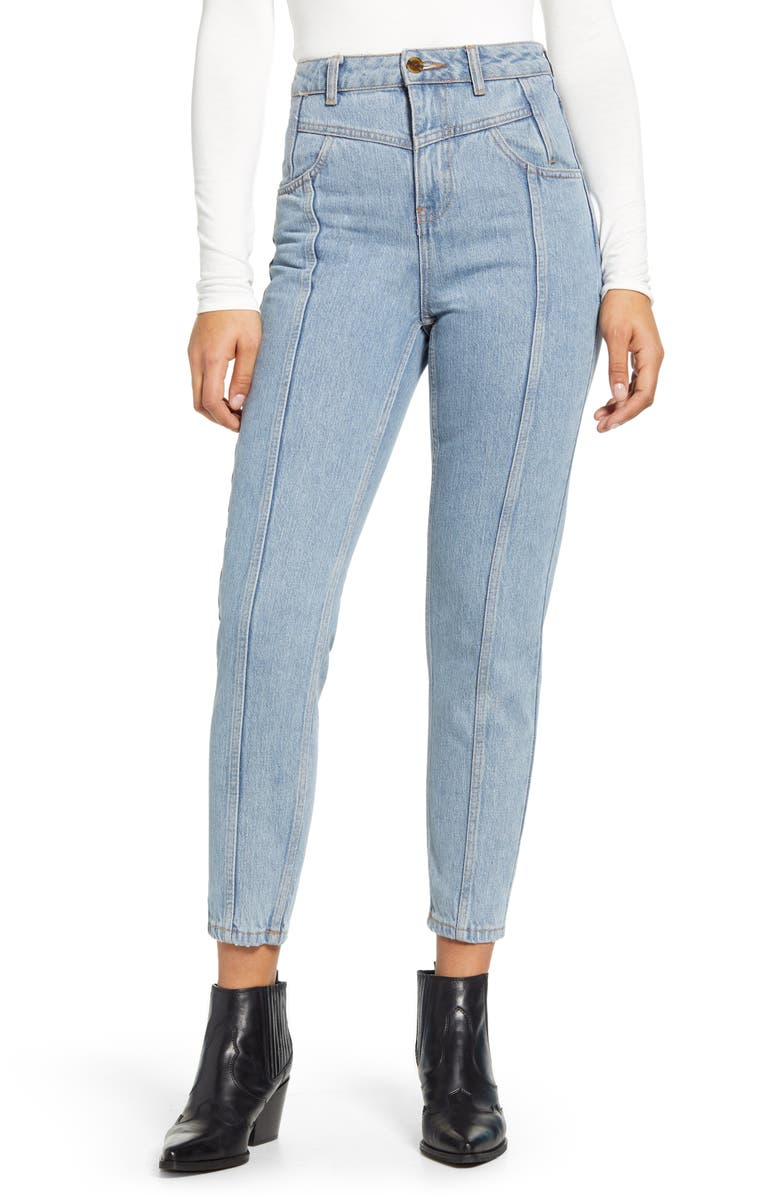 TOPSHOP Yoke Bleach Mom Jeans, Main, color, MID DENIM